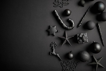 Christmas minimalistic and simple composition in mat black color