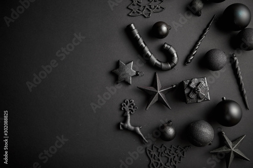 Christmas minimalistic and simple composition in mat black color Canvas Print