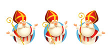 Saint Nicholas Sinterklaas Stickers Set - Vector Illustration Isolated On Transparent Background