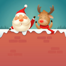 Santa Claus And Reindeer On Wa...