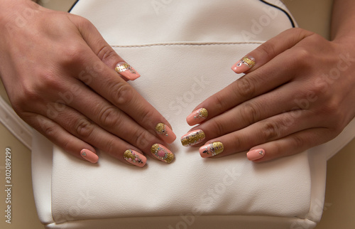 Foto op Aluminium Manicure female hands with manicure - volume and crystals