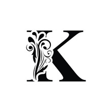 Letter K. Black Flower Alphabet.  Beautiful Capital Letters With Shadow