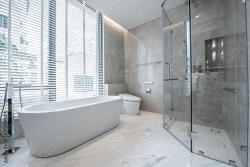 Fototapeta Beautiful Large Bathroom.White toilet bowl obraz