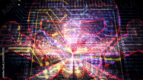 Fototapeta Cyber crime with skull sign futuristic illustration