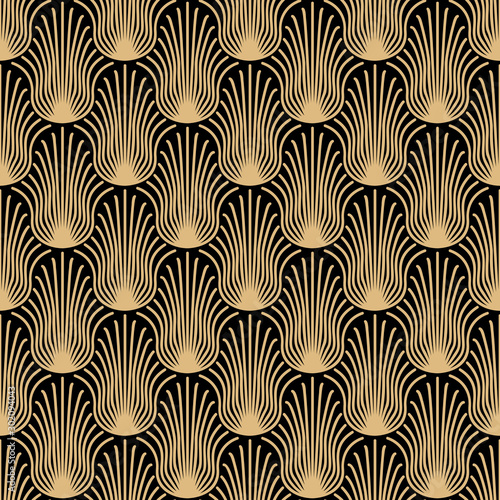 Tapety do gabinetu  art-deco-seamless-pattern-design-gold-abstract-shapes-on-black-background
