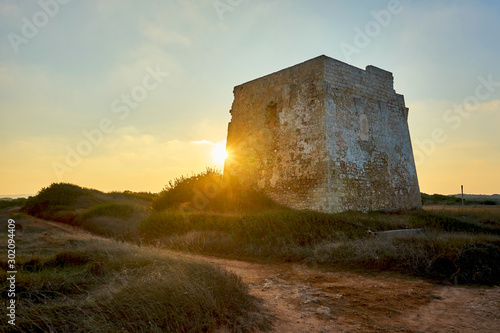 Ruins of Torre Pozzelle An Antique Coastal Watchtower At Ostuni Puglia Italy Canvas Print