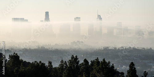 Panorama view of morning fog rolling through downtown Los Angeles, California.  Photograph taken from mountaintop in popular Griffith Park.   #302094634