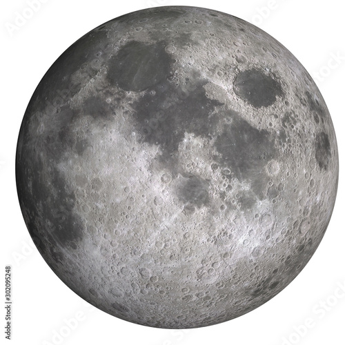 High detailed visible front side of the moon isolated Canvas Print