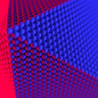 canvas print picture - Abstract geometric shape made of spheres 3d rendering. Red and blue neon light
