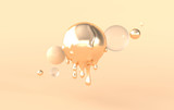 Abstract melted golden and glass sphere on beige background 3d rendering.