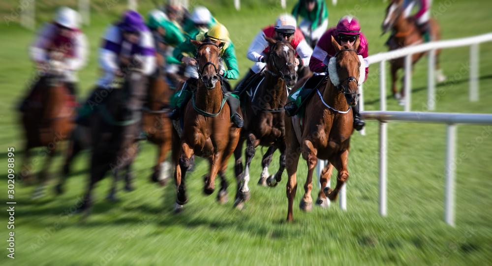 Fotografía horse race around the track, zoom motion blur effect