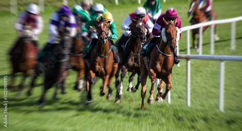 Fotomural horse race around the track, zoom motion blur effect