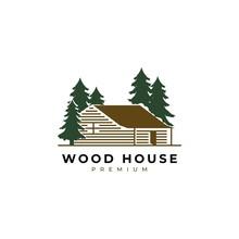Wood House Illustration Logo D...