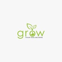 Letter Grow Logo Design Vector...