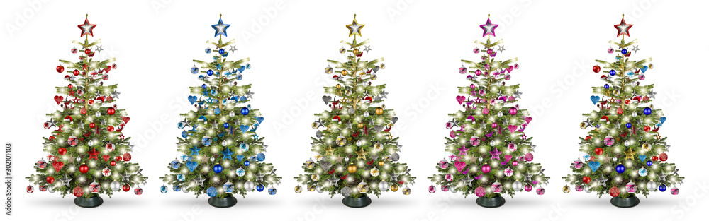 Fototapety, obrazy: Set collection of natural nordmann christmas tree, decorated with silver red blue gold pink and silver wooden baubles stars hearts and led lights isolated white background.