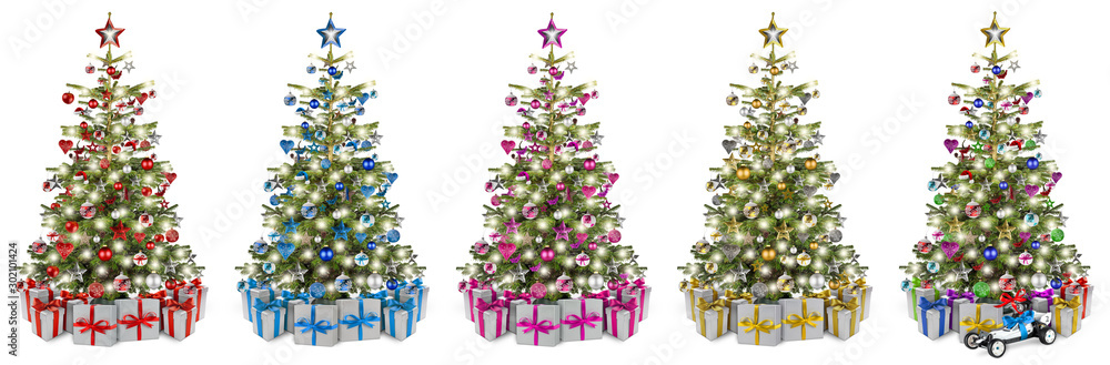 Fototapety, obrazy: Set collection of natural nordmann christmas tree, decorated with silver red blue gold pink and silver wooden baubles stars hearts and led lights. Stack christmas gift presents isolated background.