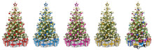 Set Collection Of Natural Nordmann Christmas Tree, Decorated With Silver Red Blue Gold Pink And Silver Wooden Baubles Stars Hearts And Led Lights. Stack Christmas Gift Presents Isolated Background.