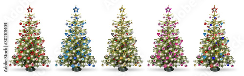 Fototapeta Set collection of natural nordmann christmas tree, decorated with silver red blue gold pink and silver wooden baubles stars hearts and led lights isolated white background. obraz