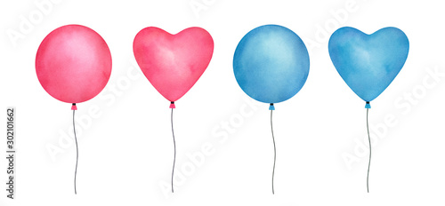 фотография Colorful set of watercolor balloons on white background