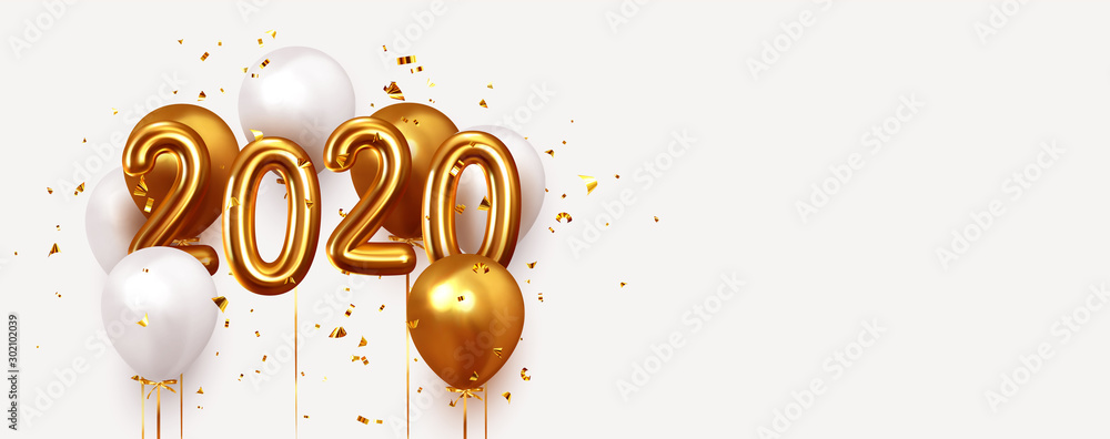 Fototapeta Happy New Year 2020. Realistic gold and white balloons. Background design metallic numbers date 2020 and helium ballon on ribbon, glitter bright confetti