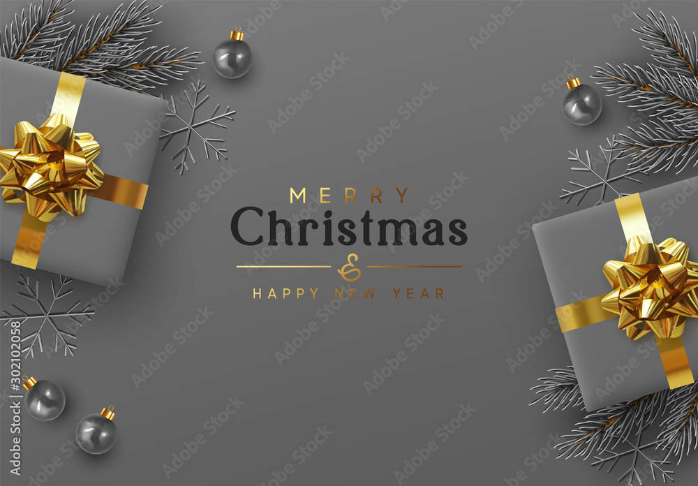 Fototapeta Christmas background. Xmas design realistic gift boxes with golden lush bow, pine branches, fir spruce branch, decorative balls. 3d dark gray snowflake. Flat lay, top view. New year's composition