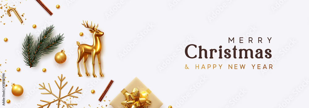 Obraz Christmas banner. Xmas Background with realistic objects, Gold Metal Deer, spruce branches, gift boxes. New Year's traditional decorations, viewed from above. Horizontal poster, header, website. fototapeta, plakat