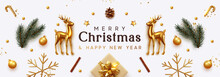 Christmas Banner. Xmas Background With Realistic Objects, Gold Metal Deer, Spruce Branches, Gift Boxes. New Year's Traditional Decorations, Viewed From Above. Horizontal Poster, Header, Website.