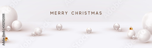 In de dag Bol Christmas background, with 3d white balls, glass spheres, round shapes. Minimal Abstract Xmas design. vector illustration
