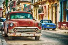 Havana Street In Cuba With Old...