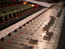 Audio Mixing Console In A Studio
