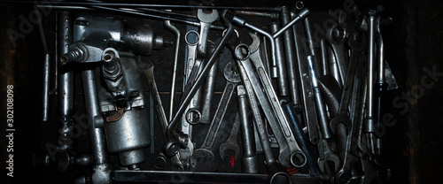 Fotografering Mechanic tools for repairing cars that are integrated into the tray - can be used for banner & background