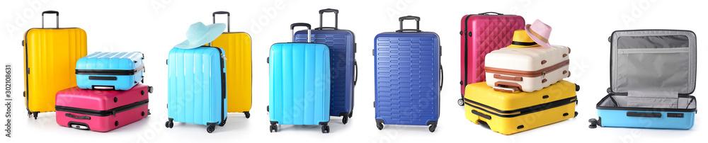 Fototapety, obrazy: Set of suitcases on white background