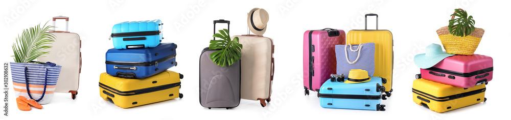 Fototapeta Set of suitcases on white background