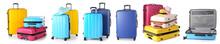 Set Of Suitcases On White Back...