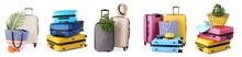 Set Of Suitcases On White Background