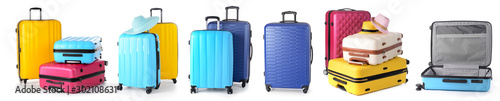 Foto  Set of suitcases on white background