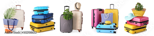 Set of suitcases on white background Fototapeta