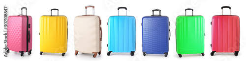 Photo Set of suitcases on white background