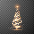Merry Christmas transparent shiny tree silhouette on checkered background