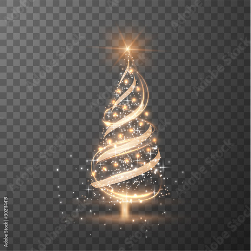 Fototapeta Merry Christmas transparent shiny tree silhouette on checkered background obraz