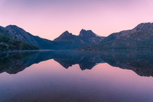 Picturesque Nature Background With Cradle Mountain And Lake At Sunrise