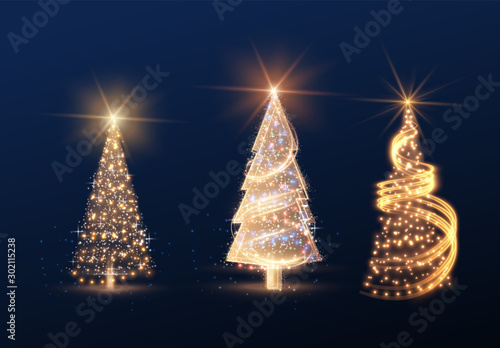 Fotografía  Shiny magic Christmas tree collection vector element background