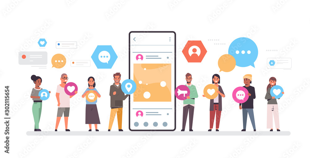 Fototapeta people group holding different types of communication icons mix race men women standing together near smrtphone screen online mobile app social network concept full length horizontal vector