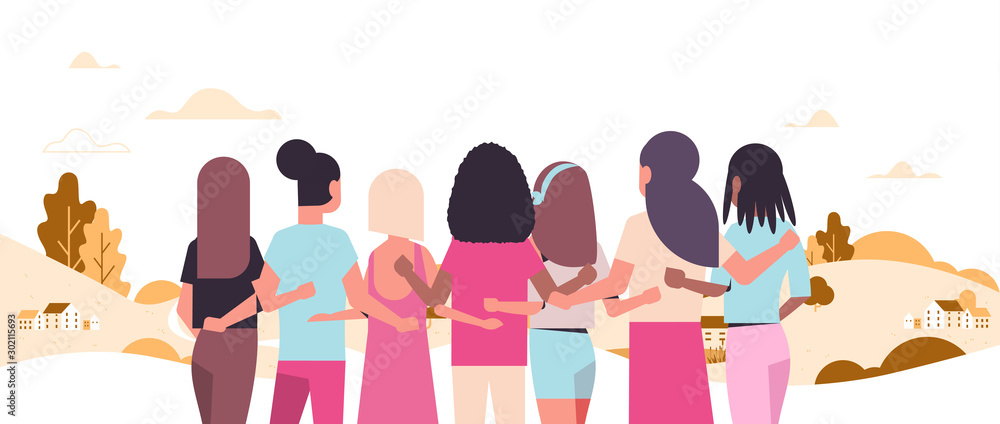 Fototapeta women standing and embracing together mix race girls struggling against breast cancer disease awareness and prevention concept landscape background flat portrait rear view horizontal vector