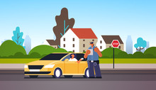 Police Officer Writing Report Parking Fine Or Speeding Ticket For Woman Sitting In Car Showing Driver License Road Traffic Safety Regulations Concept Cityscape Background Full Length Horizontal Vector