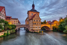 The Historic Old Town Hall Of Bamberg In Bavaria, Germany At Dawn