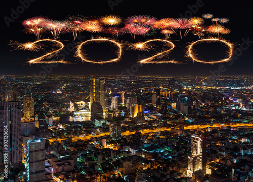 2020 happy new year fireworks over Bangkok cityscape at night, Thailand Wallpaper Mural