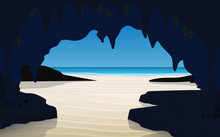 Landscape Of Cave On The Beach