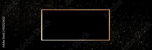 Fotografia  Gold frame on a black background with glitter