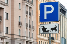 A Parking Sign For Santa Reindeer And Sleigh, New Year - Christmas Concept - Image